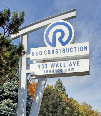 YESCO built, refurbished and then redesigned and rebuilt this sign for R&O Construction.