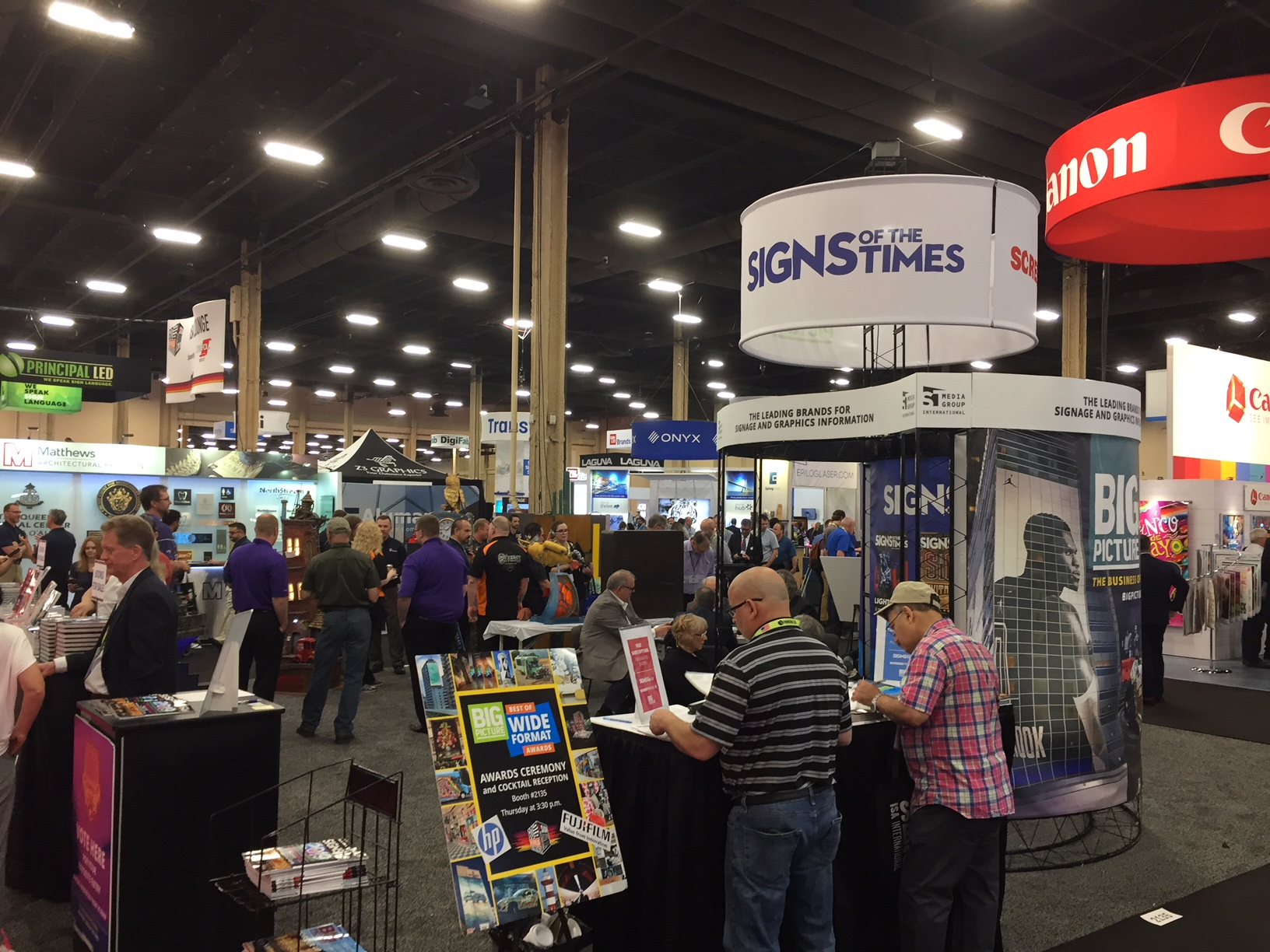 Signs of the Times/ST Media Group International's ISA booth played host to the 2019 Sign Invitational, as well as Big Picture's inaugural Best of Wide Format Awards.