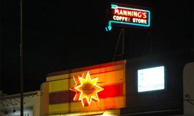 a vintage, neon sign that formerly identified Manning's Coffee Store