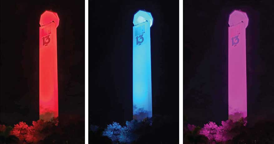 Fox 13 News in Tampa economically updated the look of its SkyTower radar with three-sided custom programmable RGB LED uplights from Creative Sign Designs.