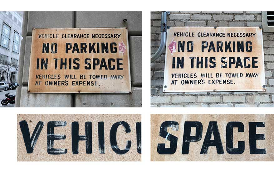The exact same strokes, actually. These two signs perfectly demonstrate the discipline required to repeat letterforms over and over. With the exception of the red arrows, these 'No Parking' signs are virtually identical.