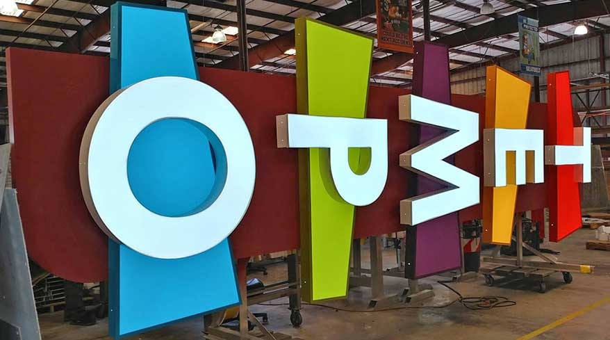 A combination of midcentury colors and large white channel letters makes for a catchy project from Creative Sign Designs (Tampa, FL).