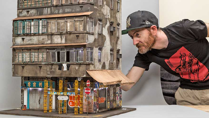 Miniaturist Joshua Smith's work features bygone/vintage signs, murals and street art.