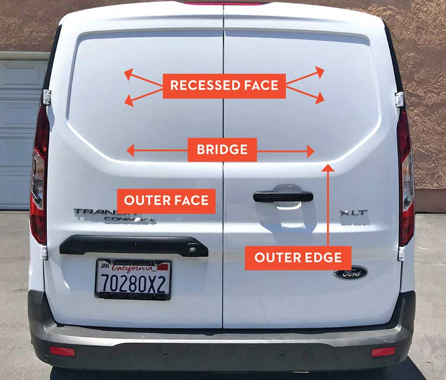 Before we go further, let's identify these four terms: the outer face, outer edge, recessed face and the bridge.
