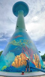 Artist Eric Henn used hundreds of gallons of Tnemec paint to painstakingly portray oversized versions of Destin's popular sea creatures in his colorful, yet realistic style.
