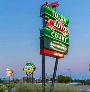 The Tulsa Auto Court sign was constructed sometime in the '50s, while the Oil Capital Motel sign was built in 1956. The Will Rogers Motor Court was originally built in the '40s.