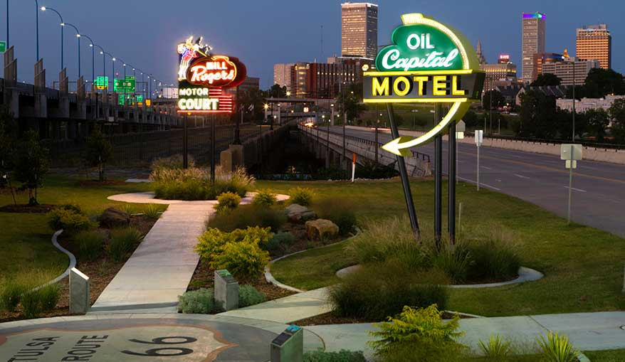 Route 66 in Tulsa, OK. The three 20-ft.-tall signs