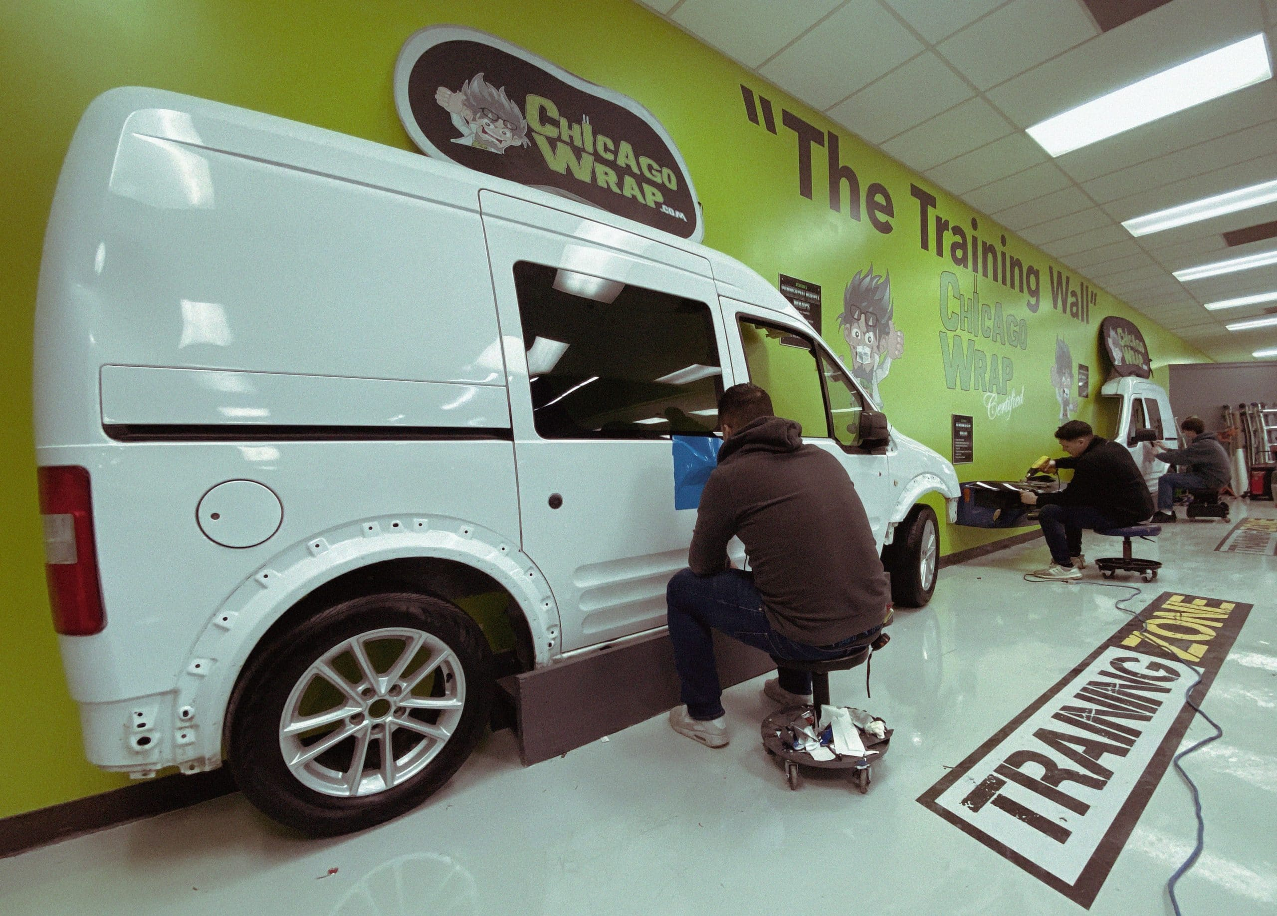 Sean Heffner's Chicago Wrap University makes excellent aftermarket use of the shop's old Transit van that had dropped its transmission. Now it functions as a training tool.