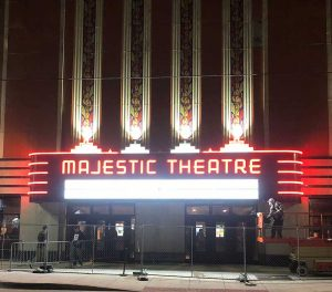The new marquee sign awaiting its first event.