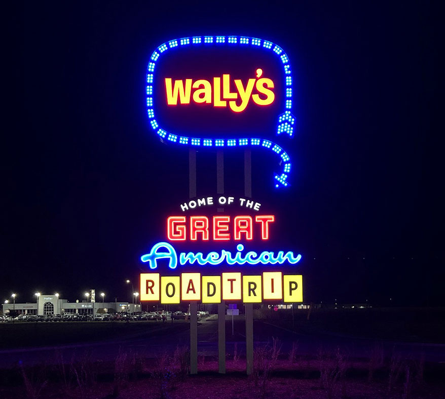 Wally's ROADTRIP letters at night