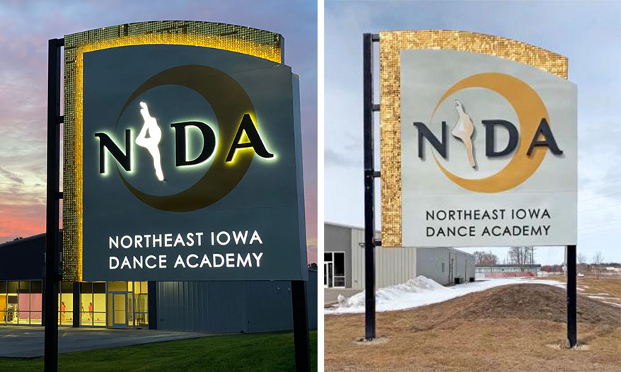 Nagle Signs Inc. constructed this striking sign for the Northeast Iowa Dance Academy.