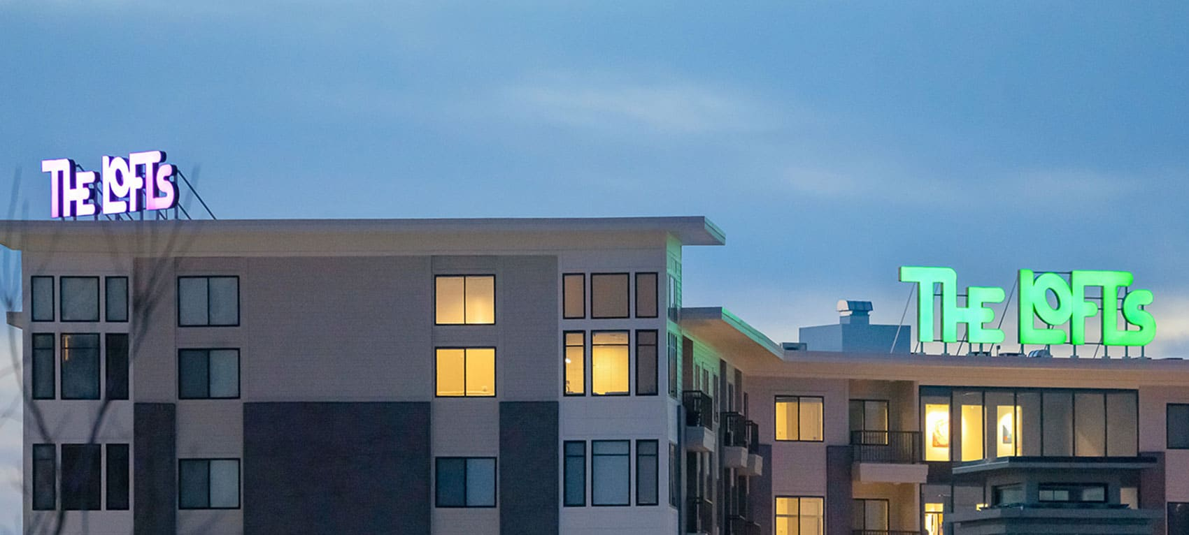 The glowing rooftop beacons are engineered to withstand 110-mph winds.