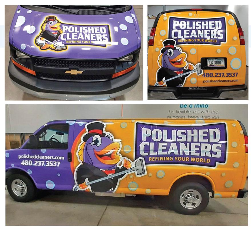 AZPRO (Avondale, AZ) fabricated this eye-catching vehicle wrap for Polish Cleaners.
