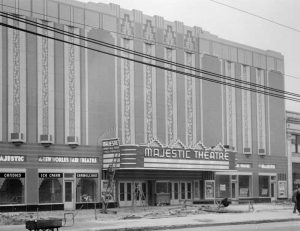 The Majestic Theatre's original marquee was added to the existing building in 1935. Historical photo courtesy of Wayne State University Digital Collection.