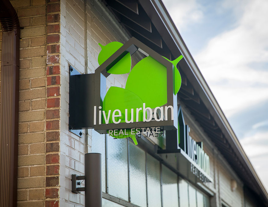 RiNo Sign Works (Lakewood, CO) produced this distinctive piece for Live Urban.
