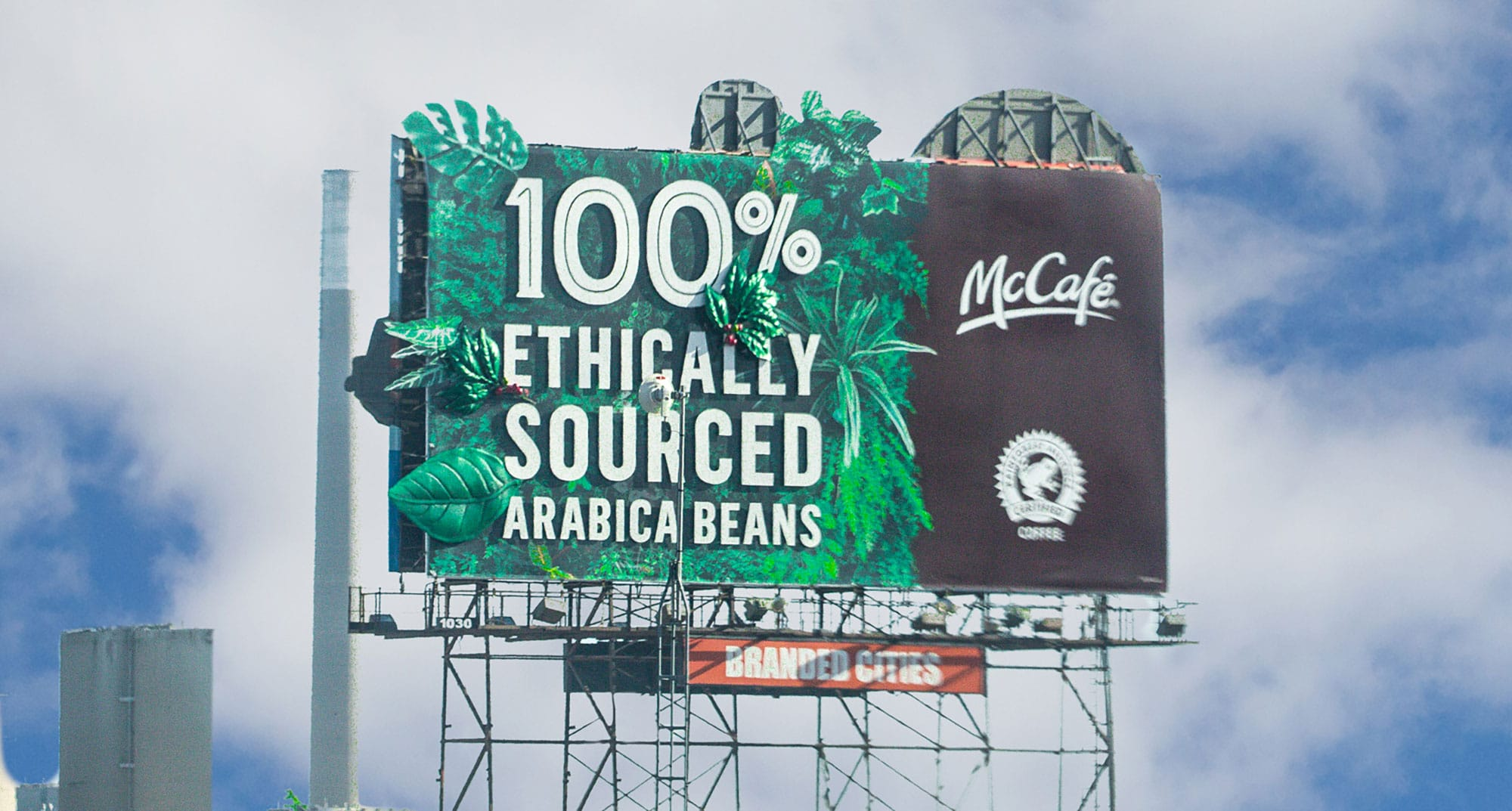 Canadian company Media Resources was able to add 3D 'foliage' to this billboard for Branded Cities.