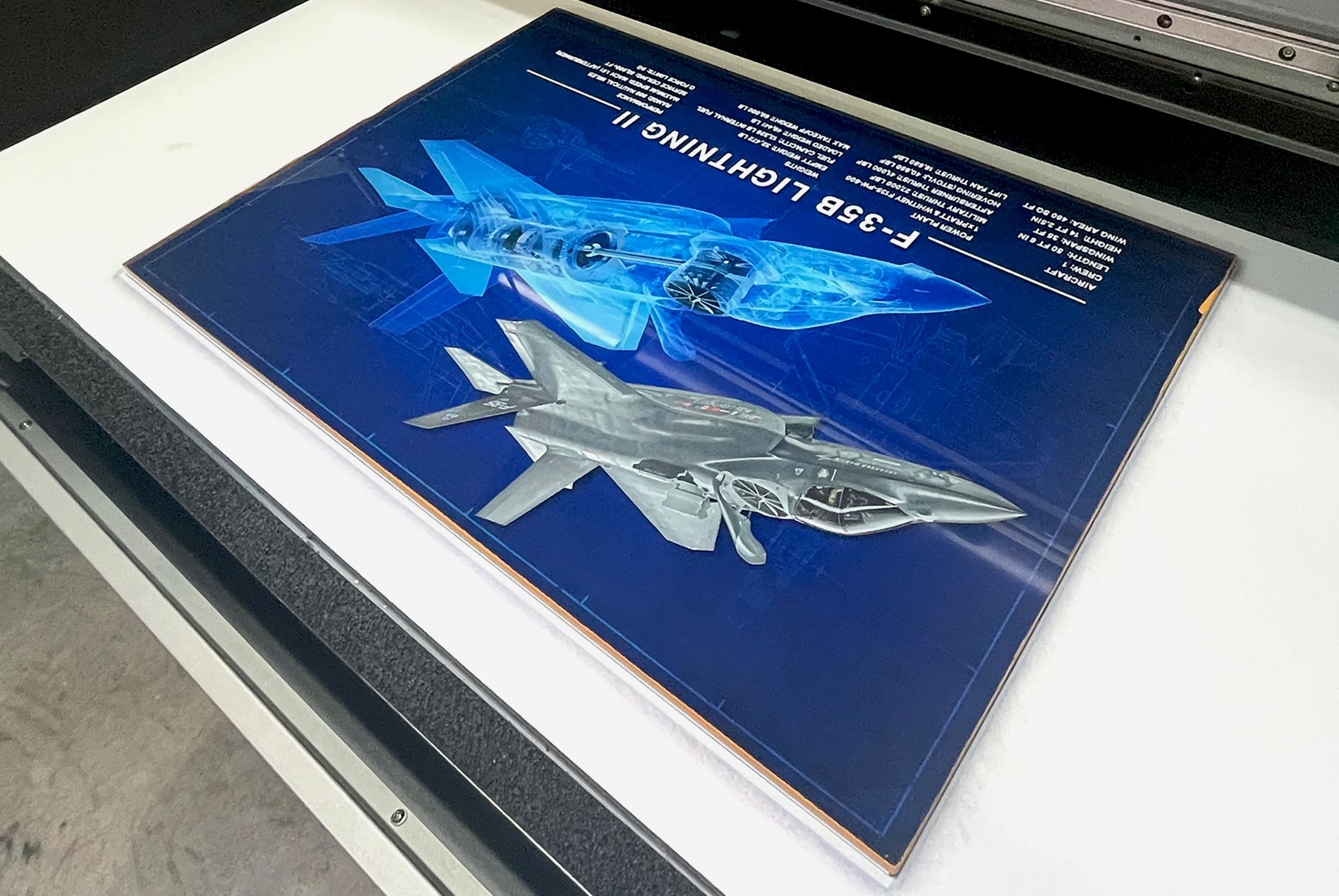 Higgins Signs UV-printed 3D layers on this acrylic wall display for an aerospace component manufacturer.