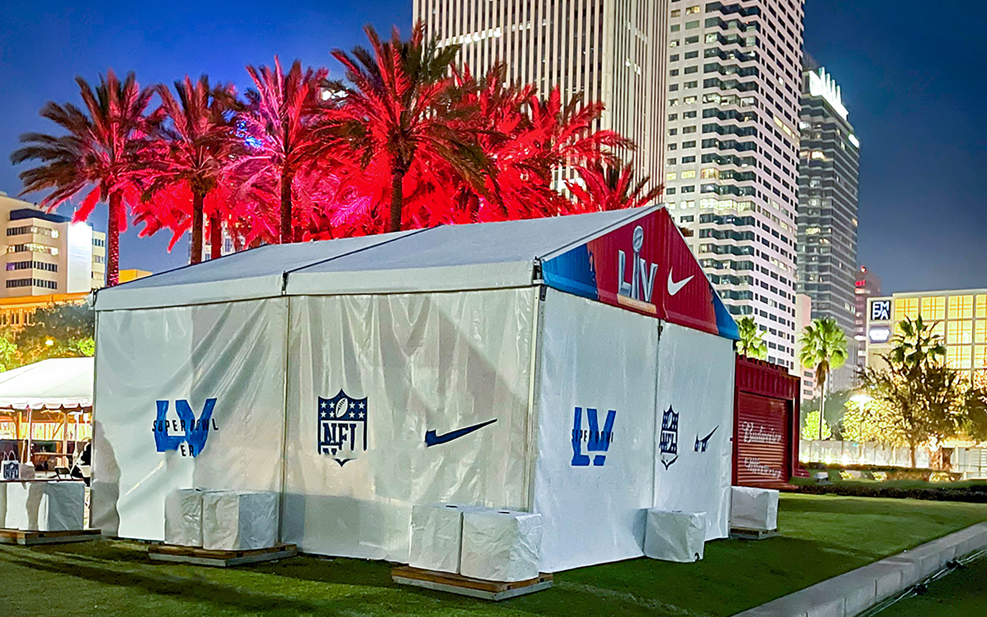 An in-process shot of Decal Doodle's tent-graphic job at this year's Super Bowl LV in Tampa, FL.