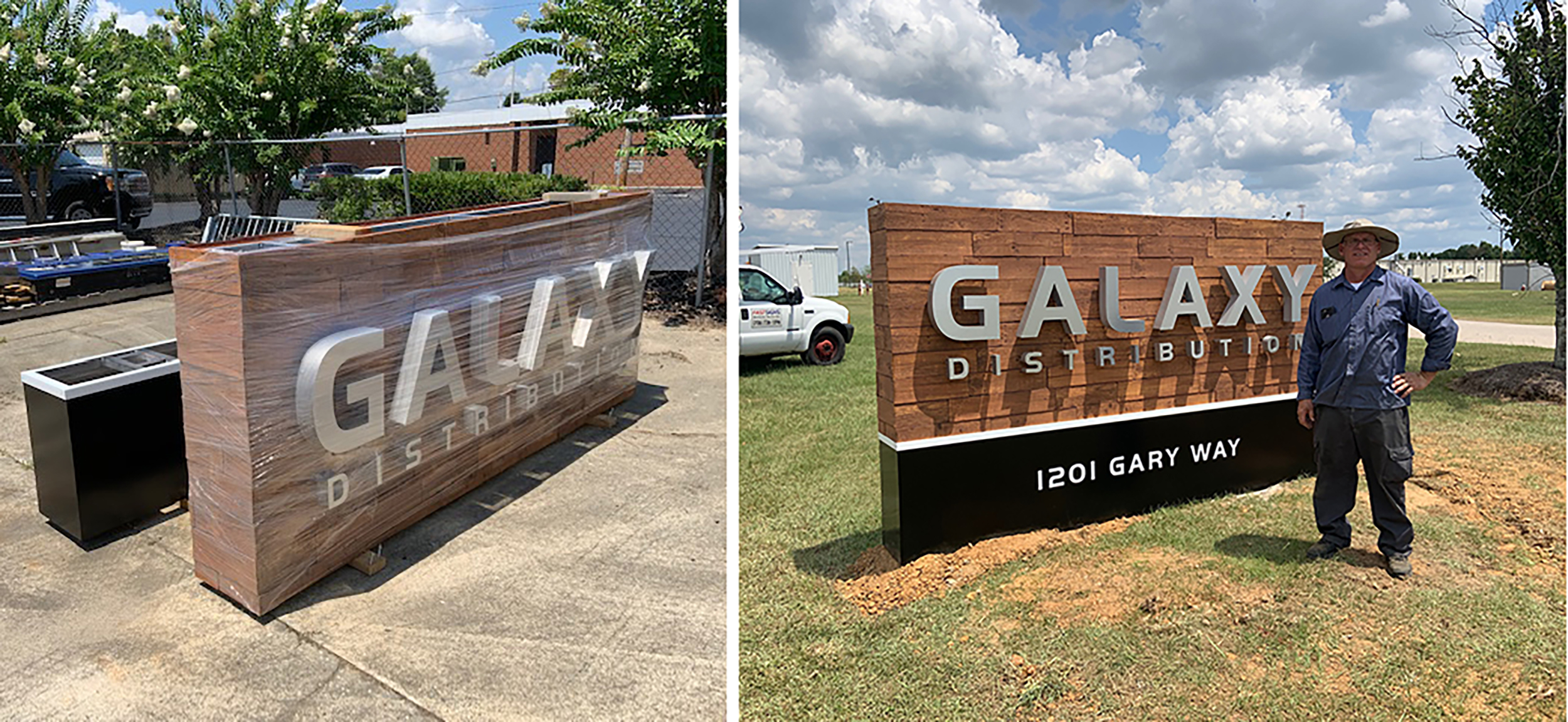 Fastsigns of Augusta's (GA) client Galaxy liked the look of wood, which Fastsigns achieved with a faux-wood product that could last up to 25 years. The reverse channel letters and fabrication were provided by Direct Sign Wholesale (Raleigh, NC).