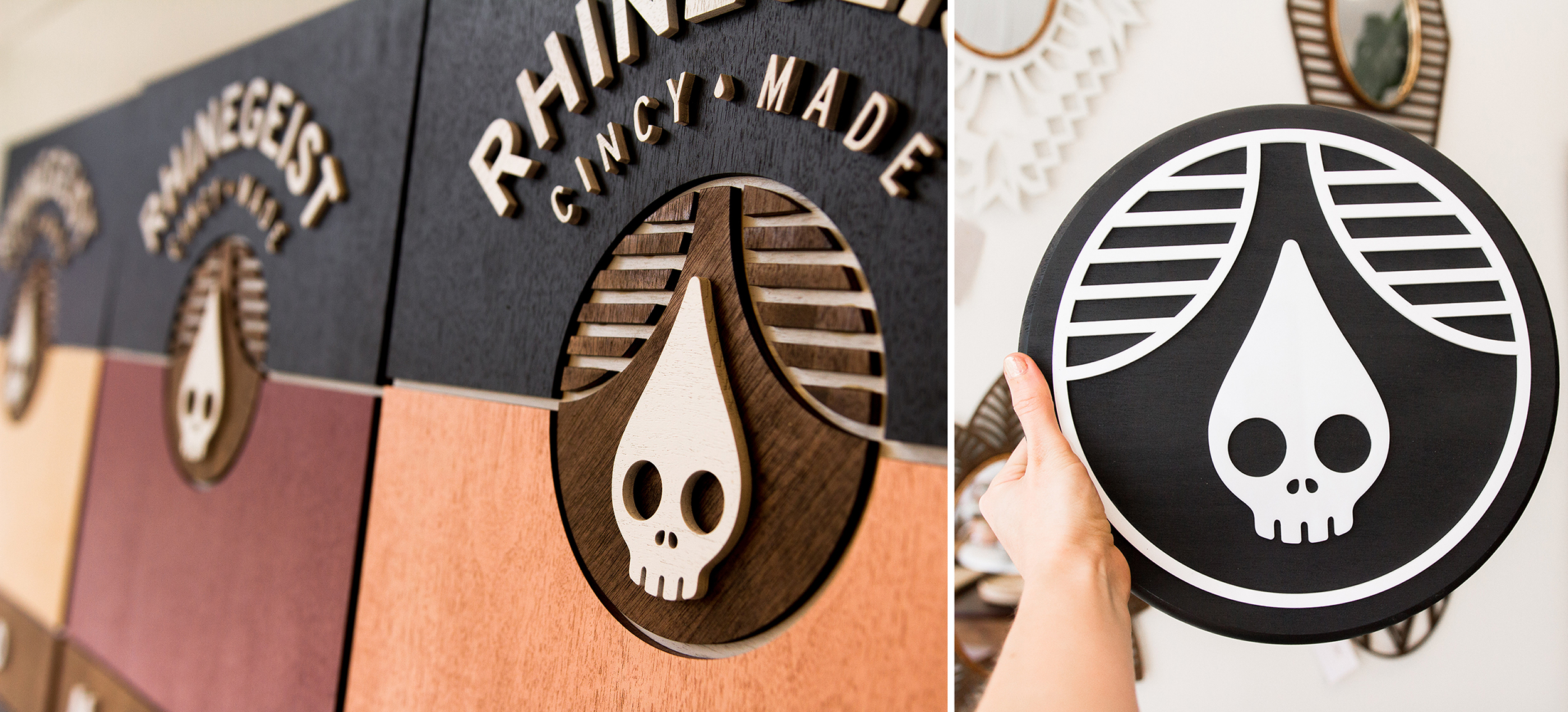 Cincinnati-based Lucca laser cuts 18 x 24-in. signs out of maple plywood project panels for couples who host receptions at the Rhinegeist Brewery. The signs are customized to the couples' colors, date and name, and serve as a keepsake long after the wedding is over.
