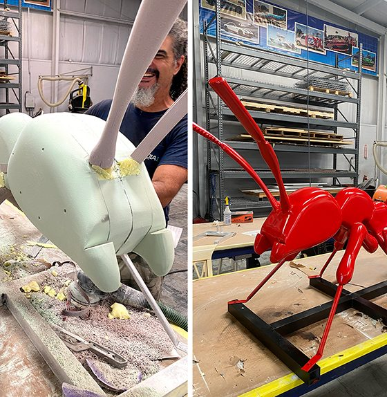 That's right, Media 1 fabricated a 3-ft.-tall x 8-ft.-long 3D ant for pest control company.