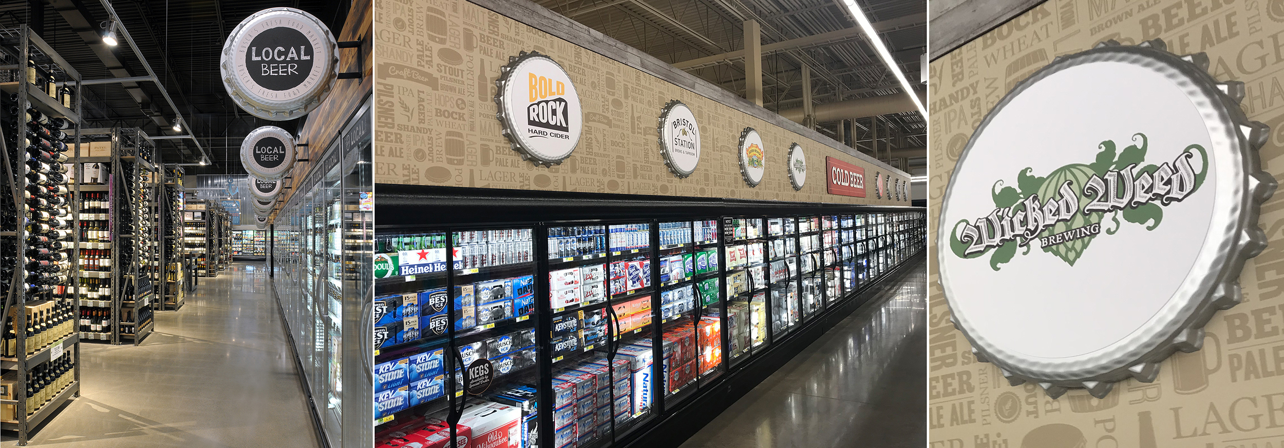 Magnetic signs in the shape of beer-bottle lids provide Shaw PPC Design's client a clever and easy way to sell ad space to beverage companies.