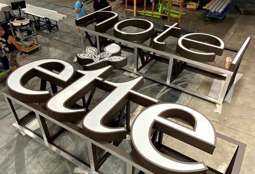"""""""Ette"""" may mean """"small"""" but there was nothing small about this job, including these massive channel letters for the side of the building."""